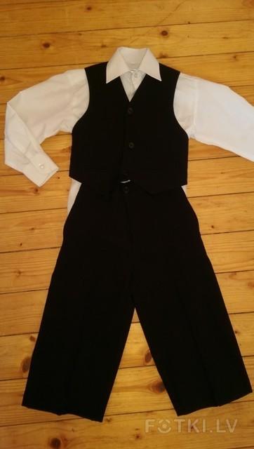 kostīms puikam (bikses, veste un krekls)  80/86cm, 8 eur