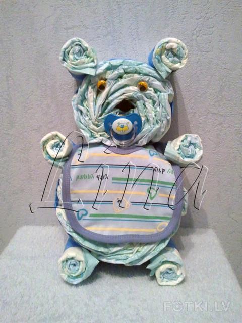 Мишка из памперсов своими руками пошагово фото 51