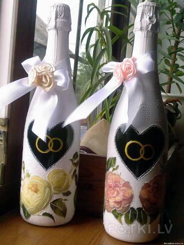 Декупаж свадебной бутылки мастер класс своими руками