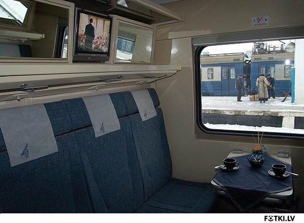 """Firmas vilciens """"Burevestņik"""" vagona salons"""