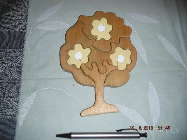 """Пазл """"Дерево с цветами"""" ,разм.18x11"""